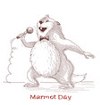 happy groundhog day with marmot singer vector image