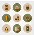 Hiking mountain icons vector image
