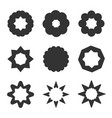 set of black geometric flowers stars and sun vector image