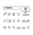 thin line black set icons online shopping vector image