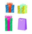 Set of gift boxes and paper bag vector image