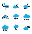 weather colored icons set collection of rainfall vector image