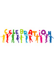 Group of children silhouettes holding letters with vector image