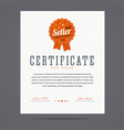 Best seller certificate with stamp vector image