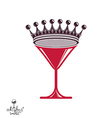 Martini glass with royal crown stylized goblet vector image
