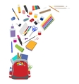 Background with school supplies flat vector image
