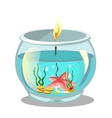 Burning candle in aquarium vector image