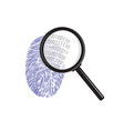 Fingerprint with magnifying glass binary code vector image