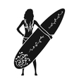 Girl is holding a surfboard icon in black style vector image