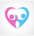 two human fgure forming heart symbol vector image