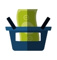 blue basket shop bill money color shadow vector image