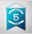 blue pennant with inscription five years vector image