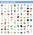 100 home icons set flat style vector image