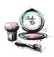 various cosmetics make up brushes isolated on vector image