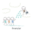financier stands on a cloud and throws money to vector image vector image