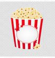 popcorn in red cardboard box vector image