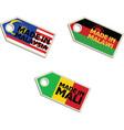 label Made in Malaysia Malawi Mali vector image
