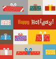 Different gift boxes greeting card vector image