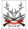 Hunting emblem deer decorative tape gun rifles vector image