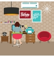 freelancer girl woman working on work-space home vector image