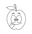 silly tongue out apple cartoon icon vector image