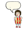 cartoon woman in kitchen apron with speech bubble vector image