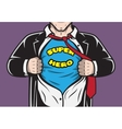 Disguised hidden comic superhero businessman vector image