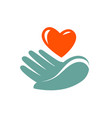 donation charity logo or label hand holding vector image