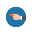 Hand holding bank card vector image