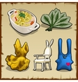 Set of items associated by theme of rabbits vector image