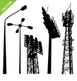 Silhouette street lamp and sport light stadium vector image