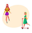 Two girls women one roller skating another vector image