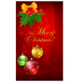 Christmas background with balls on red bow and hol vector image vector image