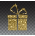 Icon of Gift box with gold sparkles and glitter vector image