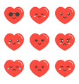 Set collection of flat design emoji red hearts vector image