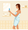 Pretty women in bathroom vector image