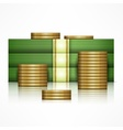 Piles of money and coins vector image vector image