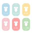 Baby Body Suits Clothes on Hangers Pastel Baby vector image