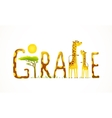 African Giraffe Animals Fun Lettering Landscape vector image