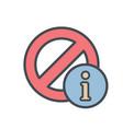 block cancel information lock stop icon vector image