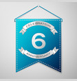 blue pennant with inscription six years vector image