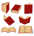 set of isolated red book vector image