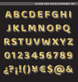 silver and gold alphabet set vector image