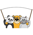 Animals carrying a blank sign vector image