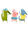 Cute Baby Animals Crocodile Pig Wolf Dancing vector image