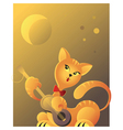 Red cat playing guitar vector image