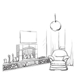 Modern interior room sketch Hand drawn fireplace vector image