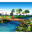 A boy above the trunk of a tree holding a vector image vector image