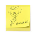 yellow sticker with man and success on white vector image vector image