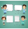 Doctors With Whiteboard Set vector image